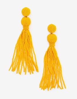 Happy Beaded Tassel Earrings