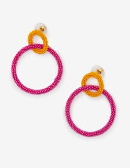 Happy and Tickled Pink Beaded Circle Earrings