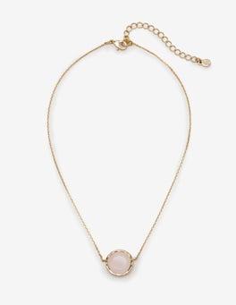 Gold/Rosenquarz Halskette mit Halbedelsteinen