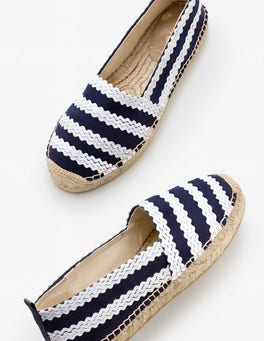 Navy and Ivory Ric Rac Violette Espadrilles