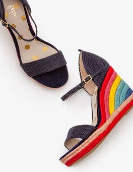 Navy Lily Espadrille Wedges