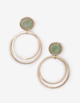 Gold and Green Aventurine Semi-precious Earrings