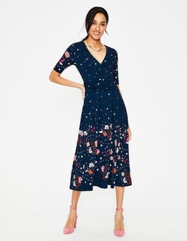 Navy Blossom Spot Kassidy Jersey Midi Dress