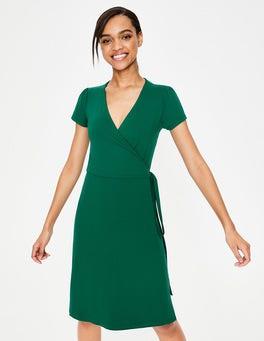 Waldgrün Sommer-Wickelkleid