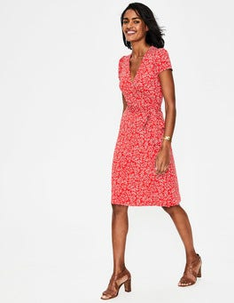 Red Pop, Olive Branch Summer Wrap Dress