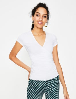 White Short Sleeve Wrap Top