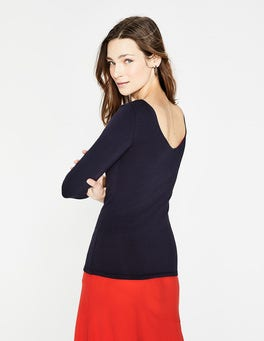 Navy Double Layer V-back Top