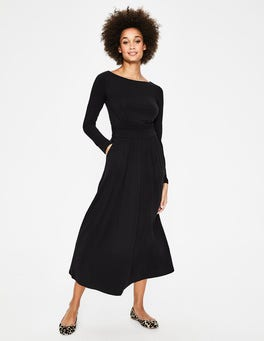 Black Lucille Jersey Midi Dress