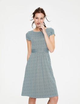 Heron Blue Sketchy Geo Amelie Jersey Dress