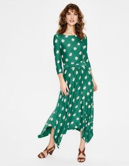 Forest Carnation Bud Maisie Jersey Midi Dress