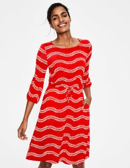 Red Pop Swaying Vine Talia Jersey Dress