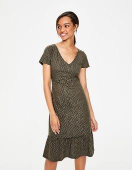 Khaki Foil Spot Melissa Jersey Dress