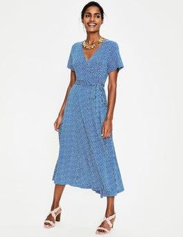 Cobalt/Ivory Puff Cassia Jersey Midi Dress