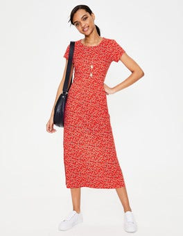 Red Pop Daisy Sprig Nicola Jersey Midi Dress