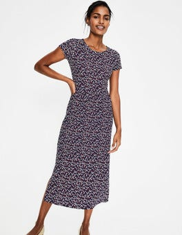 Navy Daisy Sprig Nicola Jersey Midi Dress