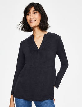 Navy Linen Pintuck Jersey Top