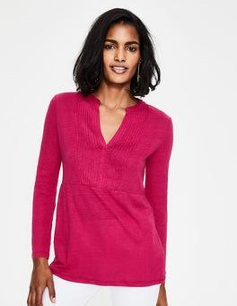 Dark Rose Linen Pintuck Jersey Top