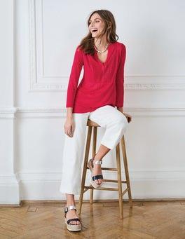 Linen Pintuck Jersey Top