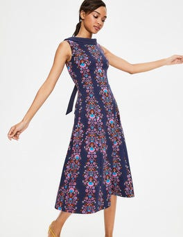 Navy Carnival Floral Stripe Aria Ponte Midi Dress