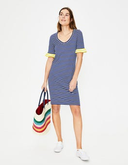 Lapis/Ivory Stripe Imogen Jersey Dress