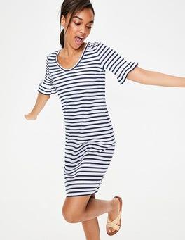 Ivory/French Navy Imogen Jersey Dress
