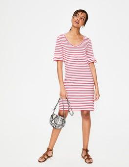 Ivory/Strawberry Split Imogen Jersey Dress