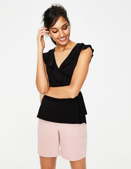 Black Jodie Jersey Wrap Top