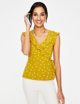 Dijon Scattered Spot Jodie Jersey Wrap Top