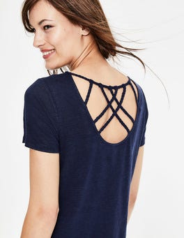 Navy Olivia Linen Back Detail Tee