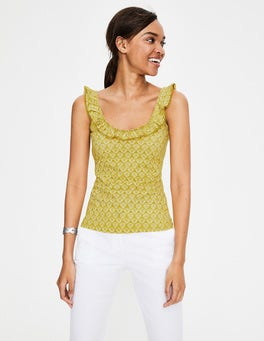 Dijonsenfgelb, Ringelblumen, Geometrisches Muster Eleanor Jersey-Trägershirt