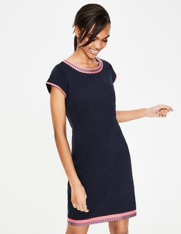 Navy Sena Embroidered Jersey Dress