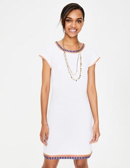 White Sena Embroidered Jersey Dress