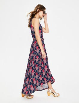Navy Tropical Pineapple Delphine Jersey Maxi Dress