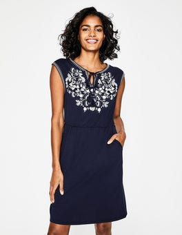 Navy Catriona Embroidered Dress