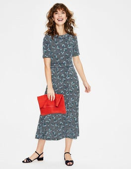 Navy/Heron Blue Daisy Ava Jersey Midi Dress