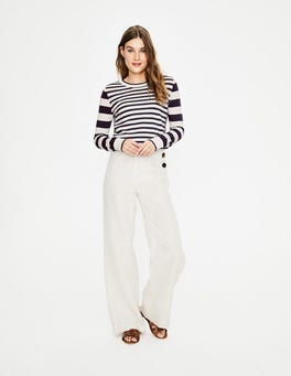 Navy and Ivory Stripe Lydia Sweater