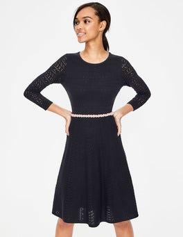 Navy Poppy Knitted Dress