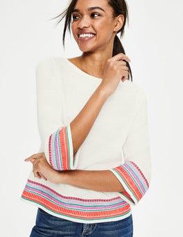 Naturweiß Colette Bestickter Pullover
