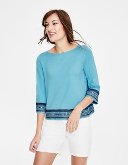 Heron Blue Colette Embroidered Sweater