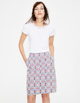 Ivory and Dijon, Holiday Tile Printed Cotton A-line Skirt