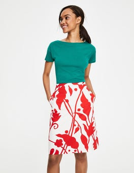 Ivory & Red Pop, Jungle Vine Printed Cotton A-line Skirt