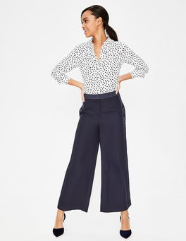 Navy Exeter Wide Leg Culottes