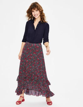 Navy and Red, Daisy Field Coraline Midi Skirt