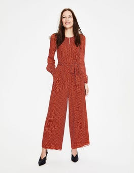Conker and Ivory Brand Spot Hermione Silk Jumpsuit