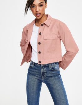 Chalky Pink Cropped Utility Jacket