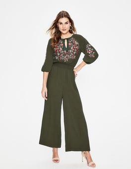 Classic Khaki Natalie Embroidered Jumpsuit