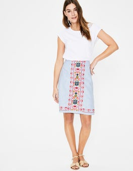 Cabin and Ivory Stripe Victoria Embroidered Skirt