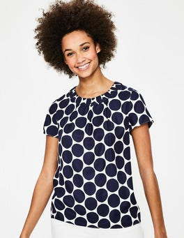 Navy Spot Carey Top