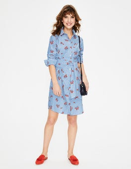 Red Pop Scattered Daisy Sprig Modern Shirt Dress