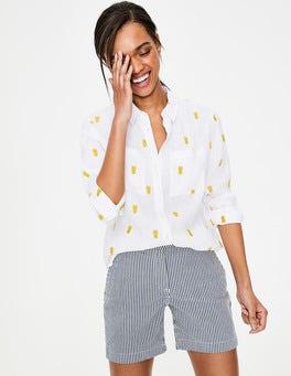 Pineapple Embroidery Linen Shirt